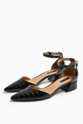Topshop ALMOND Black Flare Mid Heels