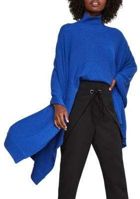 BCBGMAXAZRIA Turtleneck Ribbed Poncho