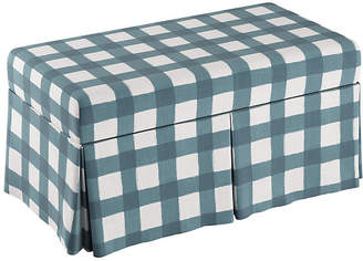 One Kings Lane Hayworth Storage Bench - Blue Gingham Linen