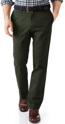 Charles Tyrwhitt Dark Green Slim Fit Flat Front Washed Cotton Chino Pants Size W30 L32