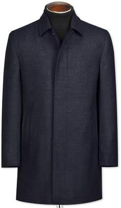 Charles Tyrwhitt Navy Houndstooth Wool Car Wool Coat Size 38