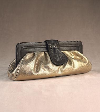Broadway Jewels Metallic Leather Clutch