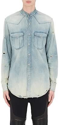Balmain Men's Distressed Cotton Chambray Western Shirt