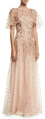 David Meister Wing-Sleeve Embroidered Lace Gown, Rose Gold