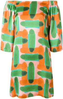 L'Autre Chose abstract print off-the-shoulder dress