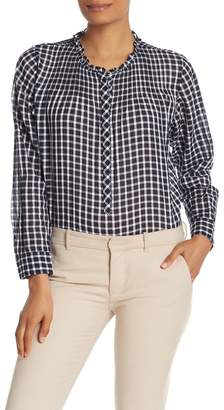 J.Crew J. Crew Gingham Pleated Bib Ruffle Trim Shirt