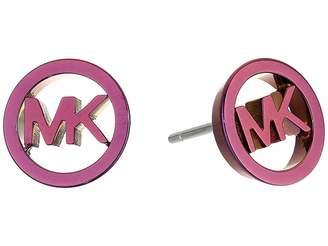 Michael Kors Plum Plated Stud Logo Earrings Earring