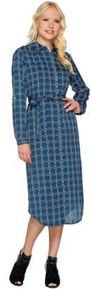 C. Wonder Midi Length Lattice Print Button Front Shirt Dress