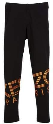 Kenzo Metallic Logo-Print Leggings, Size 2-6