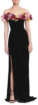 Marchesa Velvet Flower Corsage Gown