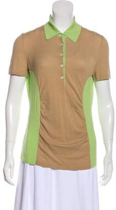 Malo Short Sleeve Point Collar Top
