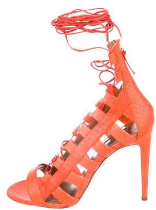 Aquazzura Snakeskin Lace-Up Sandals
