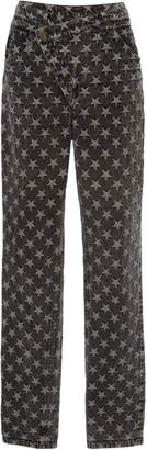Sally LaPointe High-Rise Star Denim Straight-Leg Jeans