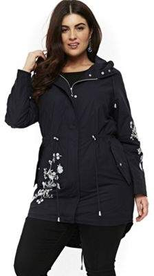 Evans Embroidered Plus Size Rain Mac 26-28