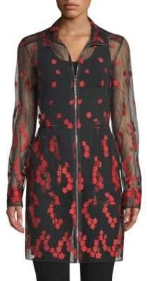 Elie Tahari Nicolette Sheer Embroidered Coat