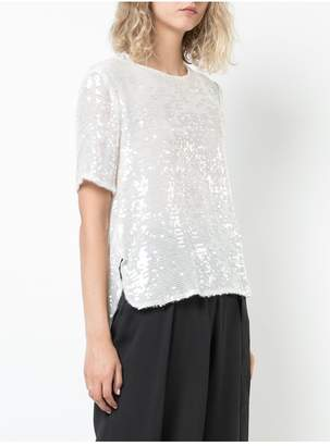 ADAM by Adam Lippes Sequin Embroidered Short Sleeve Cross Back T-Shirt