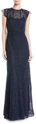 Shoshanna Raven Cap-Sleeve Lace Gown