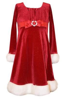 Bonnie Jean Emma Christmas Dress Velvet Santa Faux Fur Baby Girls