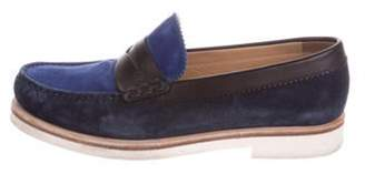 Sergio Rossi Round-Toe Suede Loafers blue Round-Toe Suede Loafers