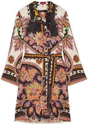 Etro Belted Printed Satin-Jacquard Dress