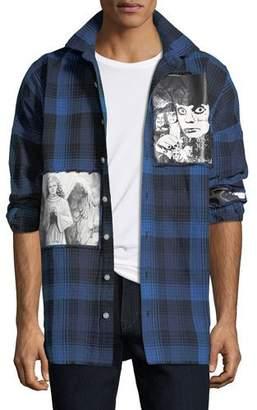 Haculla Men's Plaid Punk Art Graphic Shirt