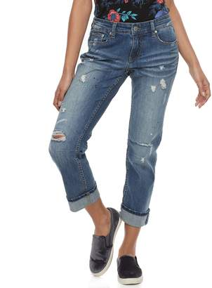 UNIONBAY Juniors' Tawny Distressed Cuffed Ankle Jeans