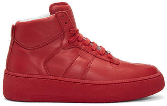 Maison Margiela Red Chunky Sole High-Top Sneakers