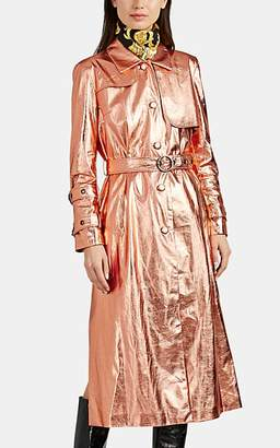 Osman Women's Metallic Faux-Leather Trench Coat - Rose Gold