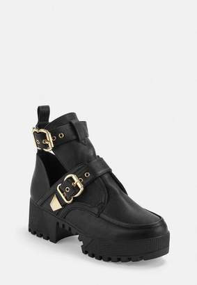Missguided Double Buckle Cleated Sole Ankle Boot