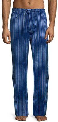 Derek Rose Satin-Stripe Pajama Pants, Blue $105 thestylecure.com
