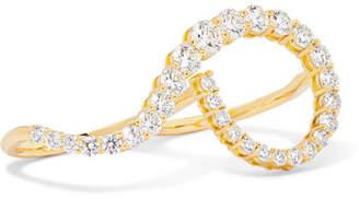Melissa Kaye - Aria Grace 18-karat Gold Diamond Two-finger Ring