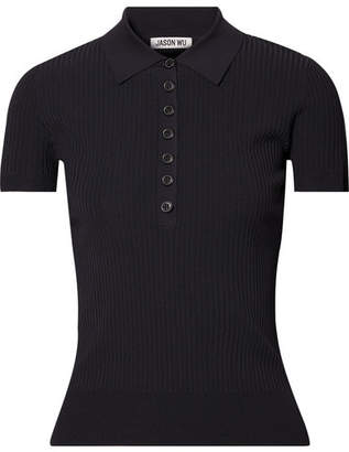 Jason Wu Ribbed-knit Polo Shirt - Navy