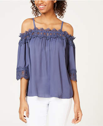 BCX Juniors' Crochet Off-The-Shoulder Top