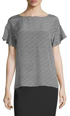 Max Mara Galoppo Printed Flutter-Sleeve Top