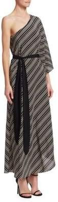 Halston Asymmetrical Tie-Waist Gown