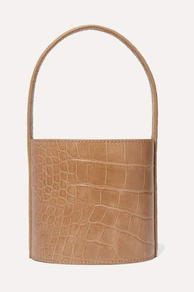 STAUD Bissett Mini Croc-effect Leather Bucket Bag - Camel