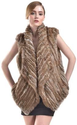Bellefur Genuine Knitted Rabbit Fur Cape Coat Vest for Women