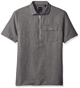 Armani Exchange A|X Men's Quarter Zip SS Linen Shirt With Collar