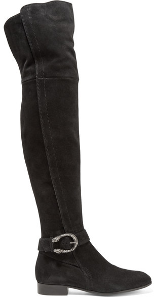 Gucci - Dionysus Suede Over-the-knee Boots - Black