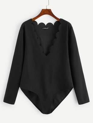 Shein Plus Scallop Trim Form Fitting Bodysuit