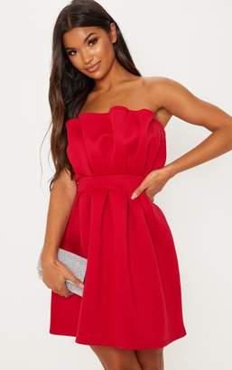 PrettyLittleThing Red Bonded Scuba Ruffle Detail Skater Dress