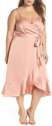 Cooper St Marilyn Satin Faux Wrap Dress