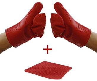 Elbee Home 641 Premium Silicone Oven Mitts and Pot Holder Set Soft Quilted Interior in