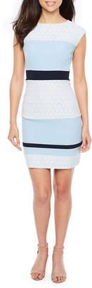 Studio 1 Sleeveless Lace Stripe Sheath Dress