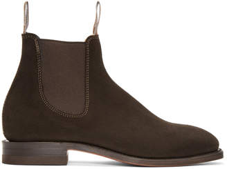 R.M. Williams Brown Suede Craftsman Chelsea Boots