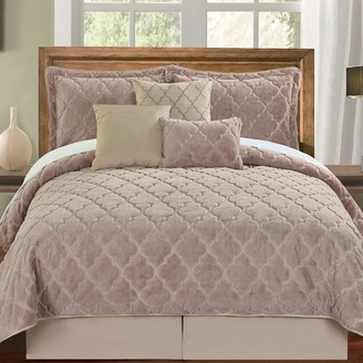 Unbranded Ogee Faux Fur Embroidered 7 Piece Bed Spread Set