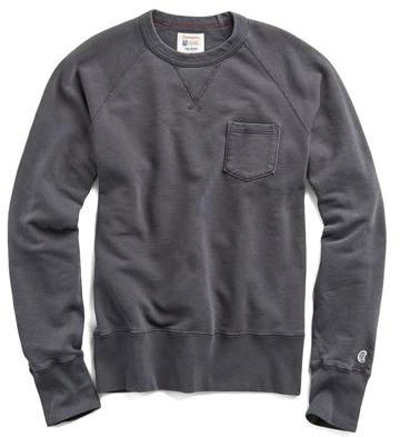 Todd Snyder + Champion Classic Garment Dyed Pocket Sweatshirt in Faded Black