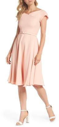 Gal Meets Glam Sally Belted Crepe Fit & Flare Dress
