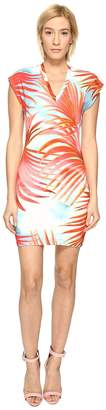Just Cavalli Palm Print Fitted Short Sleeve Dress Women's Dress