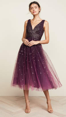 Marchesa V Neck Ombre Pleated Tulle Dress